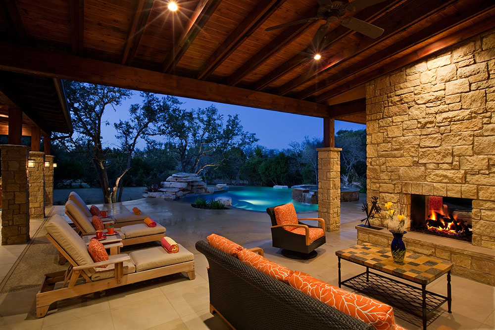 custom pool design elements outdoor living fireplaces austin pool builder - Custom Swimming Pool Designs